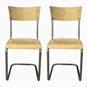 Deutsche S43 Esszimmerstühle in Hellgelb von Mart Stam für Thonet, 1930er, 2er Set