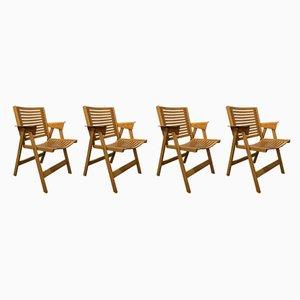 Klappbare Esszimmerstühle aus Schichtholz von Niko Kralj, 1950er, 4er Set