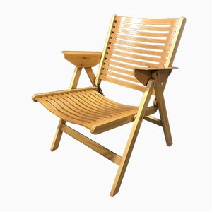 Sillón Lounge Rex plegable vintage de madera de Niko Kralj, años 70