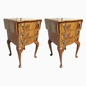 Vintage Burr Walnut Nightstands, 1920s, Set of 2