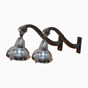 French Art Deco Wall Mounted Cinema Lights, Set of 2