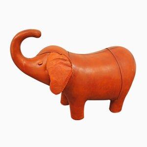 Poggiapiedi a forma di elefante in pelle di Dimitri Ormersa, anni '70