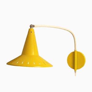 Lámpara de pared amarilla de Anvia, años 50