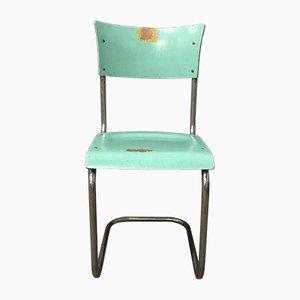 S43 Stuhl aus türkisfarbenem Holz von Mart Stam für Thonet, 1930er