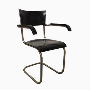 S43F Stuhl aus schwarzem Holz von Mart Stam für Thonet, 1930er