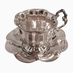 Silbernes antikes Untertassen-Set aus Silber
