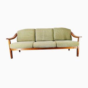 Deutsches Sofa aus Kirschholz mit grünem Samtbezug von Wilhelm Knoll für Knoll International, 1960er