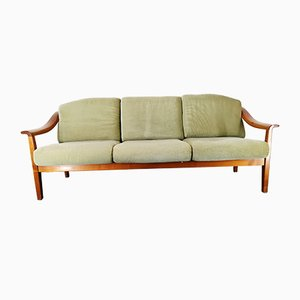 German Cherry Wood Sofa with Green Velvet Upholstery by Wilhelm Knoll for Knoll International, 1960s