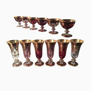Juego de copas italiano de cristal de Murano y oro, años 60