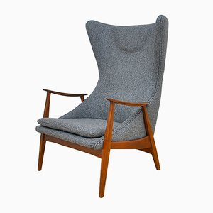 Mid-Century Danish Cherry & Wool High Back Lounge Chair, 1960s