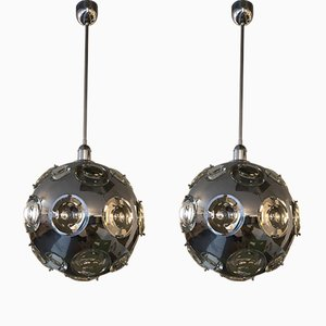 Italian Chrome Plated Chandeliers by Oscar Torlasco for Stilkronen, 1960s, Set of 2