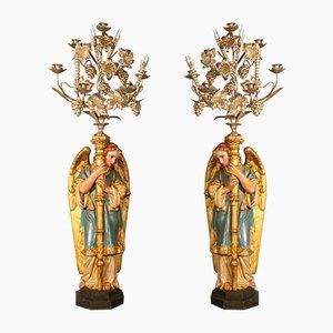 Antike Kerzenhalter aus Messing & Bronze, 2er Set