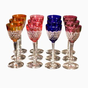 Antique French Colored Glasses from Baccarat, Set of 12
