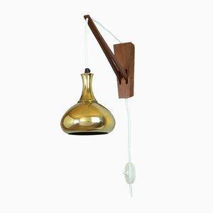 Wandlampe aus Messing & Teak von Hans-Agne Jakobsson für Markyard AB, 1960er