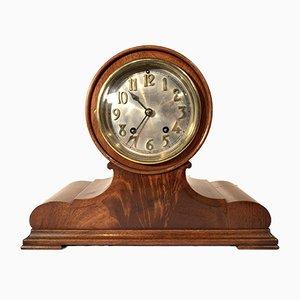 Reloj alemán Art Déco antiguo de madera