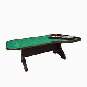 Mesa de juegos italiana de madera curvada, latón y madera, años 60