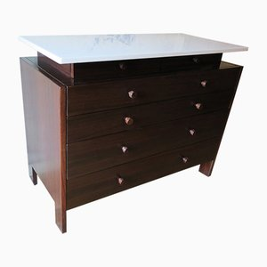 Mid-Century Italian Marble and Rosewood Chest of Drawers, 1960s