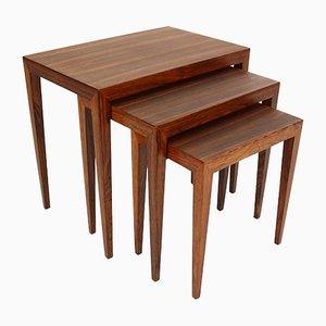 Tavolini ad incastro in palissandro di Severin Hansen per Haslev Møbelsnedkeri, Danimarca, anni '60