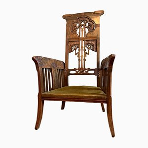 Large Art Nouveau Throne Chair