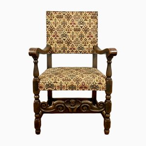 Antique Oak, Brass & Cotton Fabric Side Chair