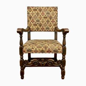 Sedia antica in quercia, ottone e cotone