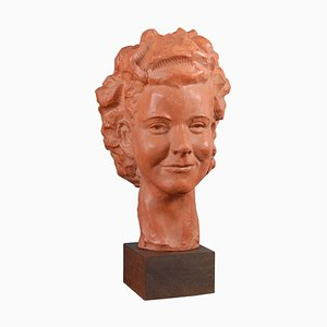 Hand-Crafted Terracotta Sculpture by Paul Serste, 1960s