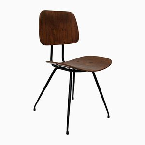 Italian Steel and Wood Side Chair from Rima, 1950s