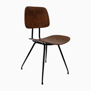 Italienischer Beistellstuhl aus Stahl & Holz von Rima, 1950er