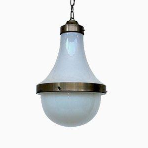 Lampada da soffitto in ottone e vetro opalino di Sergio Mazza per Artemide, Italia, anni '60