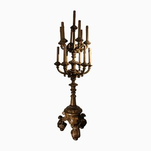 Antique Metal and Wood Candelabra