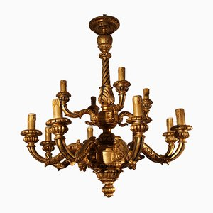 Antiker Regency Kronleuchter aus vergoldetem Holz