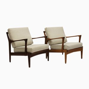 Teak and Walnut Kuba Armchairs by Bertil Fridhagen for Bröderna Andersson, 1960s, Set of 2