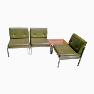 Green Leatherette Living Room Set, 1960s