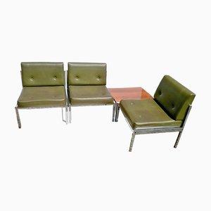 Juego de sala de cuero sintético verde, años 60