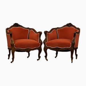 Antique French Walnut Louis XV Style Bergere Armchairs, Set of 2
