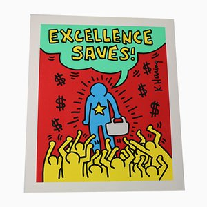 Affiche Lithographie Sérigraphie Excellence Saves par Keith Haring, 1994
