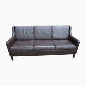 Mid-Century Danish Dark Brown Leather 3-Seater Sofa, 1960s