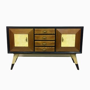 Italian Ebonized Oak and Parchment Sideboard, 1940s