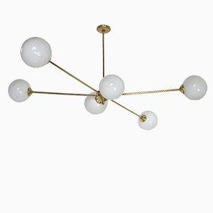Italian Modern Brass and Glass Chandelier, 1960s
