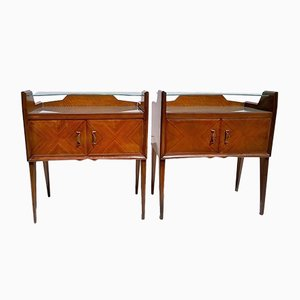 Mahogany and Colored Glass Nightstands by Paolo Buffa, 1940s, Set of 2