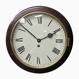 19th Century Mahogany Station Office Pendulum Wall Clock