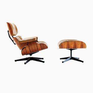 Französischer Sessel mit Fußhocker von Charles & Ray Eames für Mobilier International, 1970er
