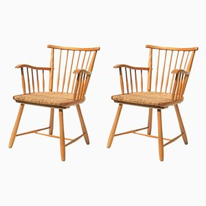 Danish Beech Dining Chairs by Arno Lambrecht for WK-Sozialwerk, 1950s, Set of 2