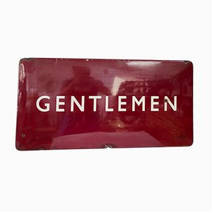 Mid-Century Enamel and Steel Railway Gentleman Sign, 1940s