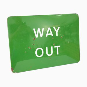 Mid-Century Enamel and Steel Railway Way Out Sign, 1940s
