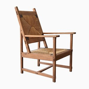 Vintage Hand-Crafted Oak and Rush Lounge Chair, 1928