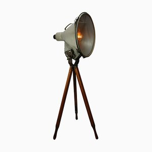 Industrial Aluminum & Glass Tripod Floor Lamp, 1950s
