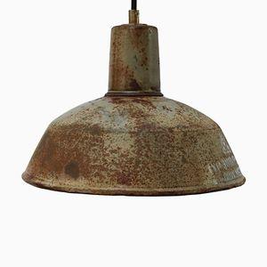 Mid-Century Industrial Enamel Factory Pendant Lamp, 1950s