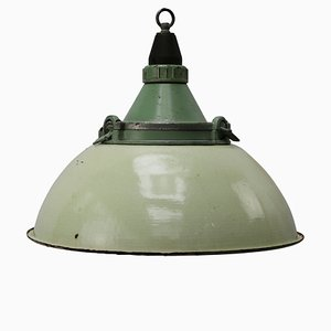 Industrial Cast Aluminum and Light Green Enamel Ceiling Lamp, 1950s