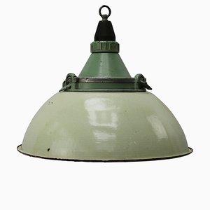 Industrial Cast Aluminum and Light Green Enamel Ceiling Lamp, 1950s